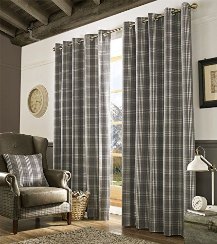 Homescapes Grey and Cream Tartan Check Plaid Ready Made Eyelet Curtain Pair Width 90 x 90 Inch Drop - Fully Lined Curtains for Living, Dining and Bedroom