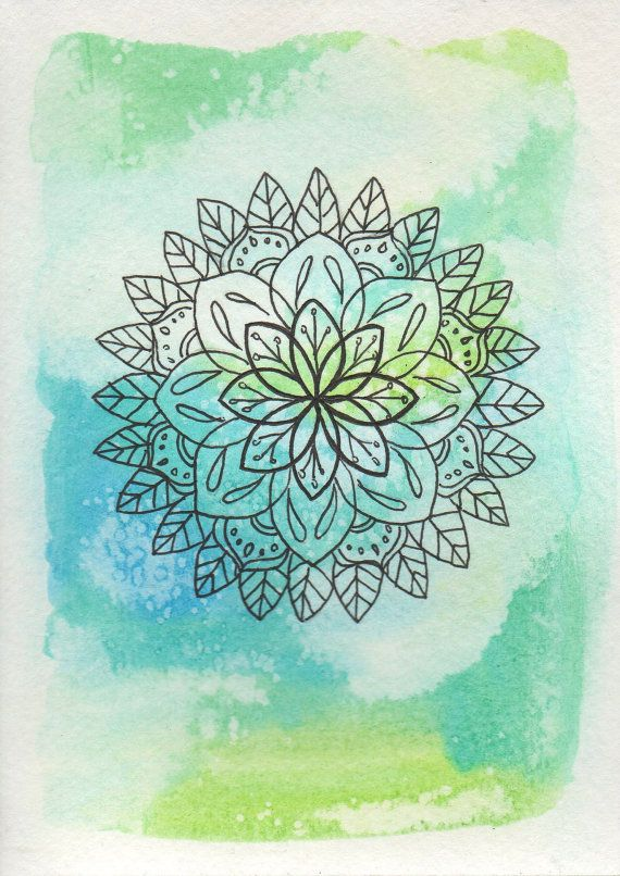 Watercolor Flower Mandala, Turquoise Watercolor Mandala Print, Yoga Art, Home…                                                                                                                                                                                 Más
