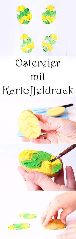 Malen im Frühling mit Kindern - Ostereier mit Kartoffeldruck gestalten - Kartoffelstempel basteln #basteln #bastelnmitkindern #malen #malenmitkindern #kinder #kindergarten