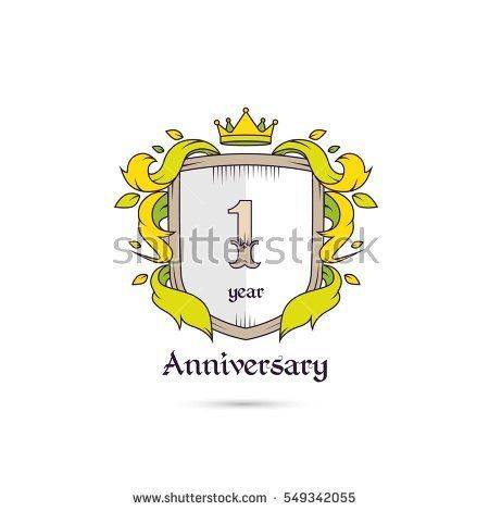 1 Year Anniversary Logo Using Heraldic Theme, Colorful and Isolated on white background