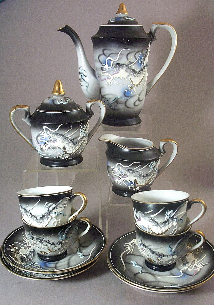 Antique Tea Set | 13 Pc Vintage Kutani Dragonware - Moriage Hand Painted Tea Set from ...