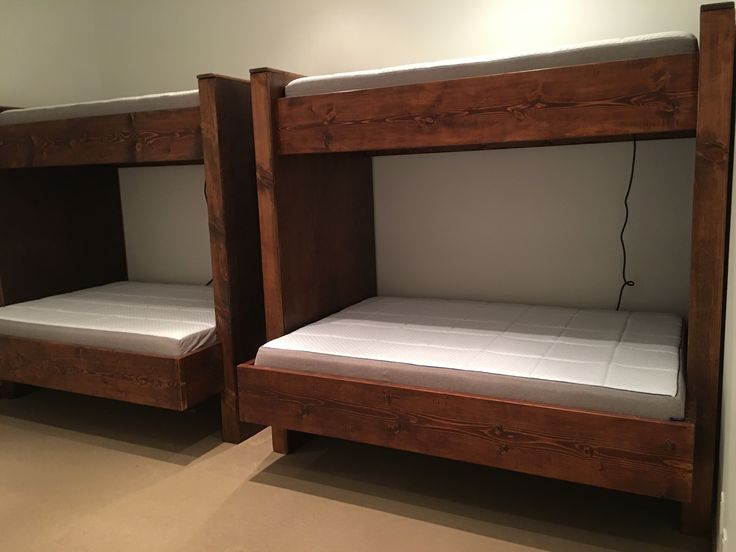 Custom contemporary bunk beds for Aspen. Twin over queen.