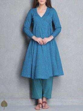Blue Angrakha Mangalgiri Kurta by Jaypore