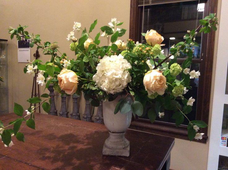 Caramel Antique Roses, Viburnum, Hydrangea