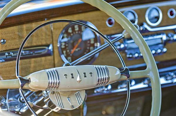 1949 Hudson Commodore 6 Convertible Steering Wheel Photograph by Jill Reger - 1949 Hudson Commodore 6 Convertible Steering Wheel Fine Art Prints and Posters for Sale