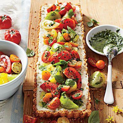 Tomato-Goat Cheese Tart with Lemon-Basil Vinaigrette | Cookbook author Sheri Castle shared her recipe, a family favorite, with us. | #Recipes | SouthernLiving.com