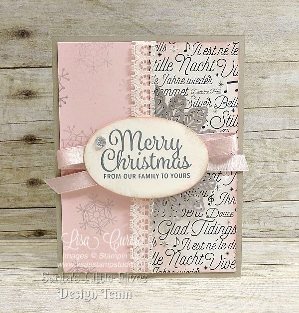 Beautiful vintage Christmas card with a blush and silver motif. Uses Stampin' Up!'s Snowflake Sentiments.