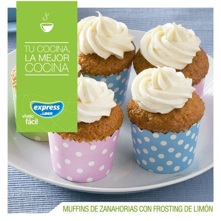 Muffins de zanahoria con frosting de limón   #Receta #Recetario #RecetarioExpress #ExpressdeLider #Muffins #Zanahoria #Limón
