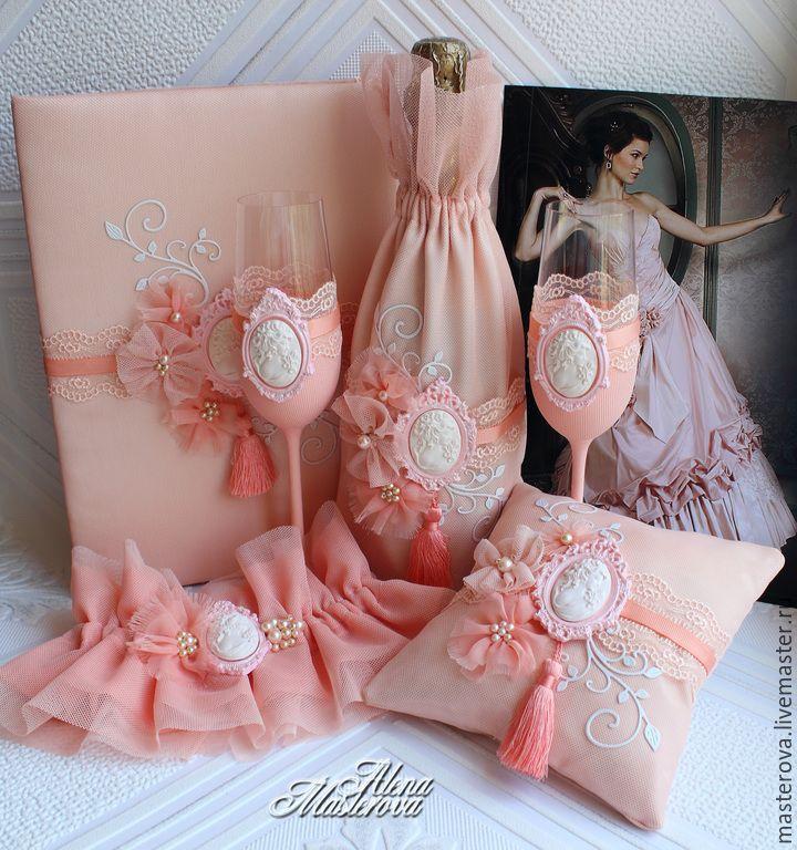 """Купить Свадебные фужеры, коллекция """" Персиковый соблазн"""" - коралловый, персиковая свадьба, свадьба в коралловом"""