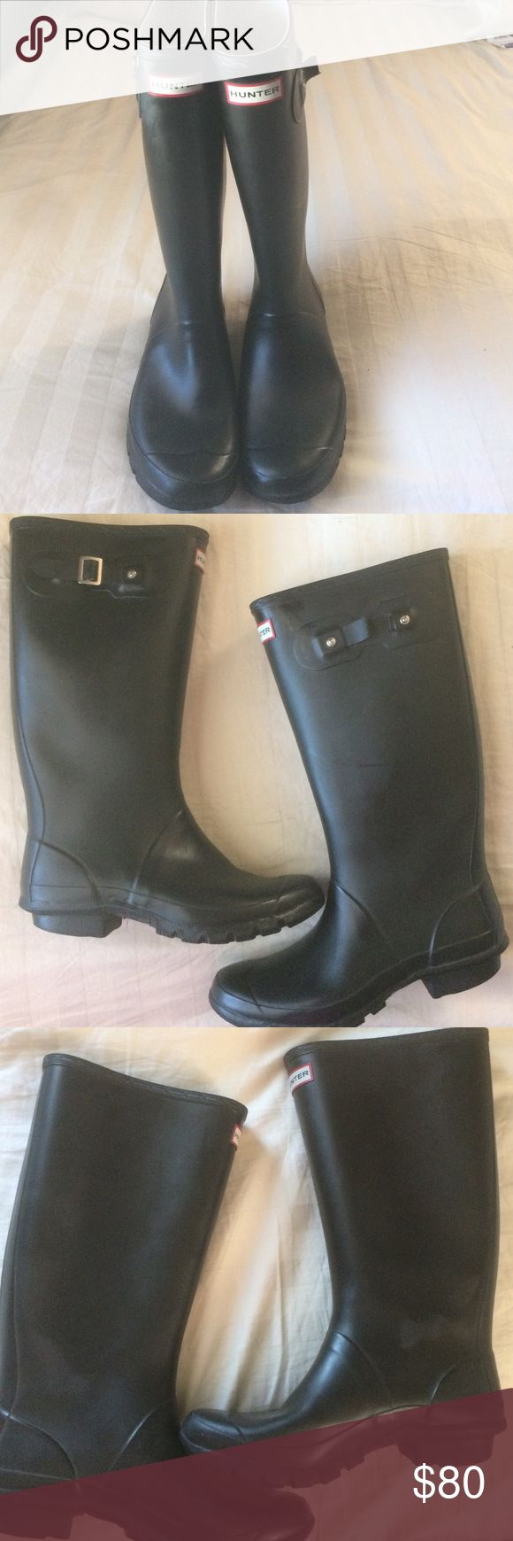 Hunter Huntress Wellies  Sale !!! Priced to sale loved Hunter boots. They show some signs of wear. Lots of life left. The left buckle is broken, heels are slightly worn, and there are a few wear marks. Hunter Boots Shoes Winter & Rain Boots