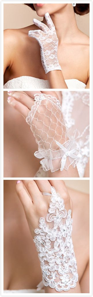 The short lace wedding gloves we love!