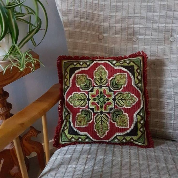 """Excited to share the latest addition to my #etsy shop: Lovely 12"""" x 12"""" / green/red / twist stitch/needle point embroidered decorative pillow/cushion with leaves from Sweden #pillow #cushion #retro pillow #leaves #embroidery #embroidered # embroidered pillow http://etsy.me/2mFMiaf"""
