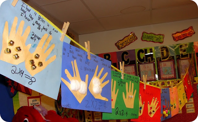 INTRO TO MULTIPLICATION (2nd grade) --  kids choose from objects like marbles, cotton balls, jingle bells, jewels, beans, macaroni, foam shapes, etc.  Then, they write a story problem to go with their handprints/what they were holding.