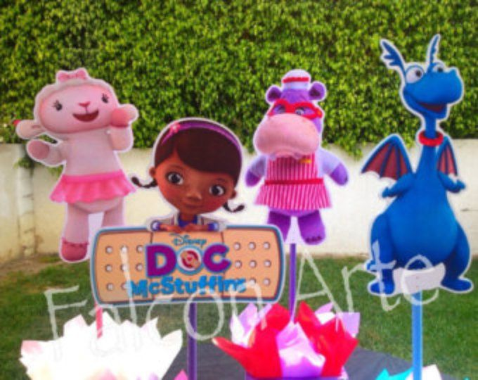 Doc McStuffins Birthday Lambie Stuffy Hallie wood Centerpieces for Birthday Cake Table or any themed occasion SET OF 4