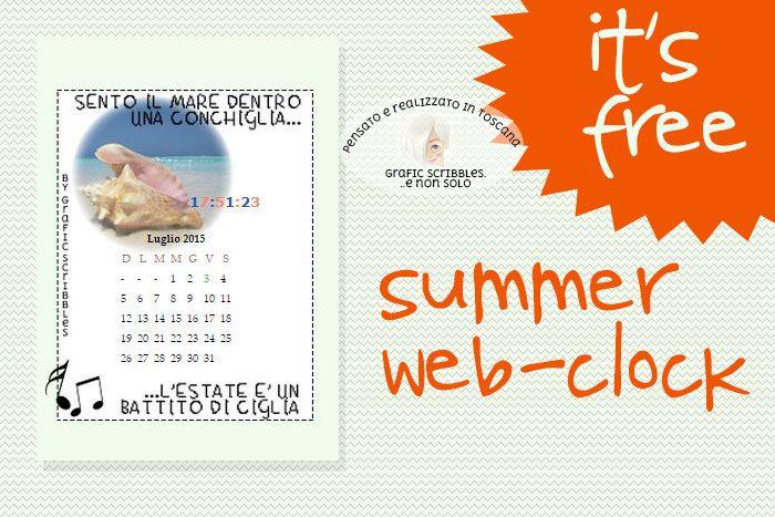 Summer web-clock...FREE DOWNLOAD ~ Grafic Scribbles