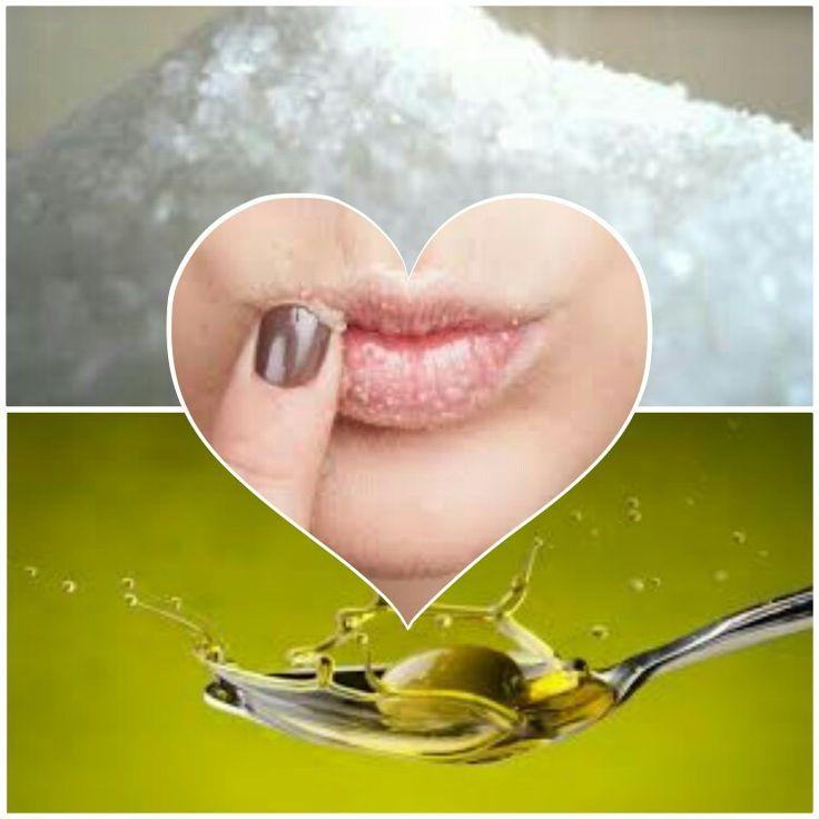 Scrub labbra: 1 cucchiaio d'olio d'oliva 1 cucchiaio di zucchero semolato o di canna Passare con un dito questa miscela sulle labbra e poi sciacquare.