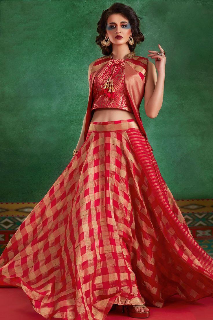 Samyakk Red Silk Checked Jacket Style Lehenga