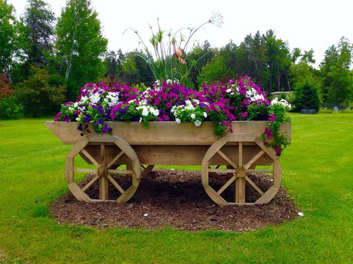 Hand Built Wagon In Our Front Yard Showcasing Our Flowers And Beat Your  Neighbor Fertilizer!
