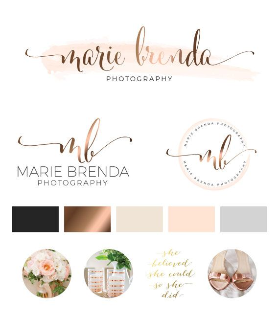 Watercolor Logo Design, Custom Logo Design, Rose gold Branding kit Logo Design Premade Branding Package, stamp,  Photography Logo, watermark