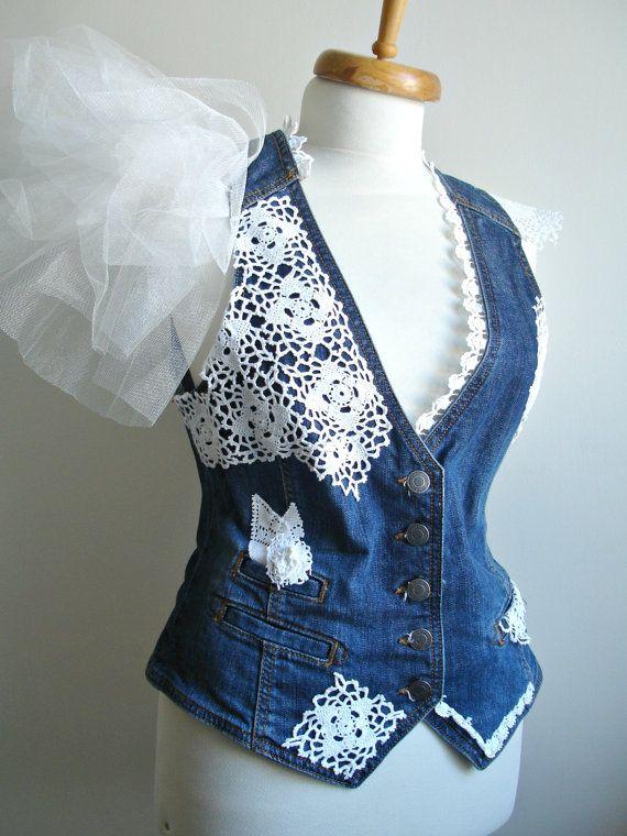 Upcycled Denim Vest Bridal Vest wedding accessory by WHITEStardust, $78.00