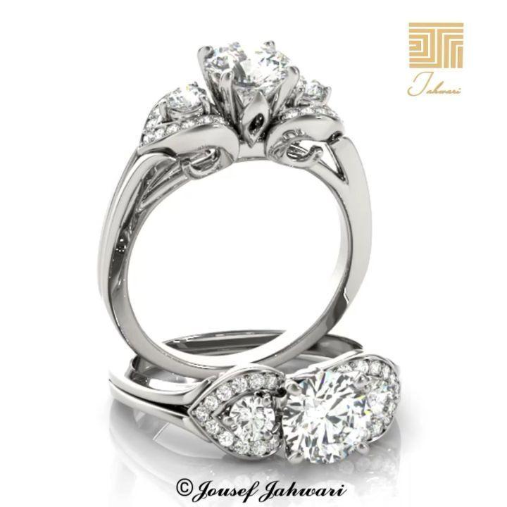 خاتم الماس مفاهيم الجمال ذهب ابيض تحلم كل إمرأة بذلك الخاتم الفاخر المثالي لإطلالة لافتة وجذابة في أرقى المناسبات وتم تصميم هذ Engagement Rings Jewelry Rings