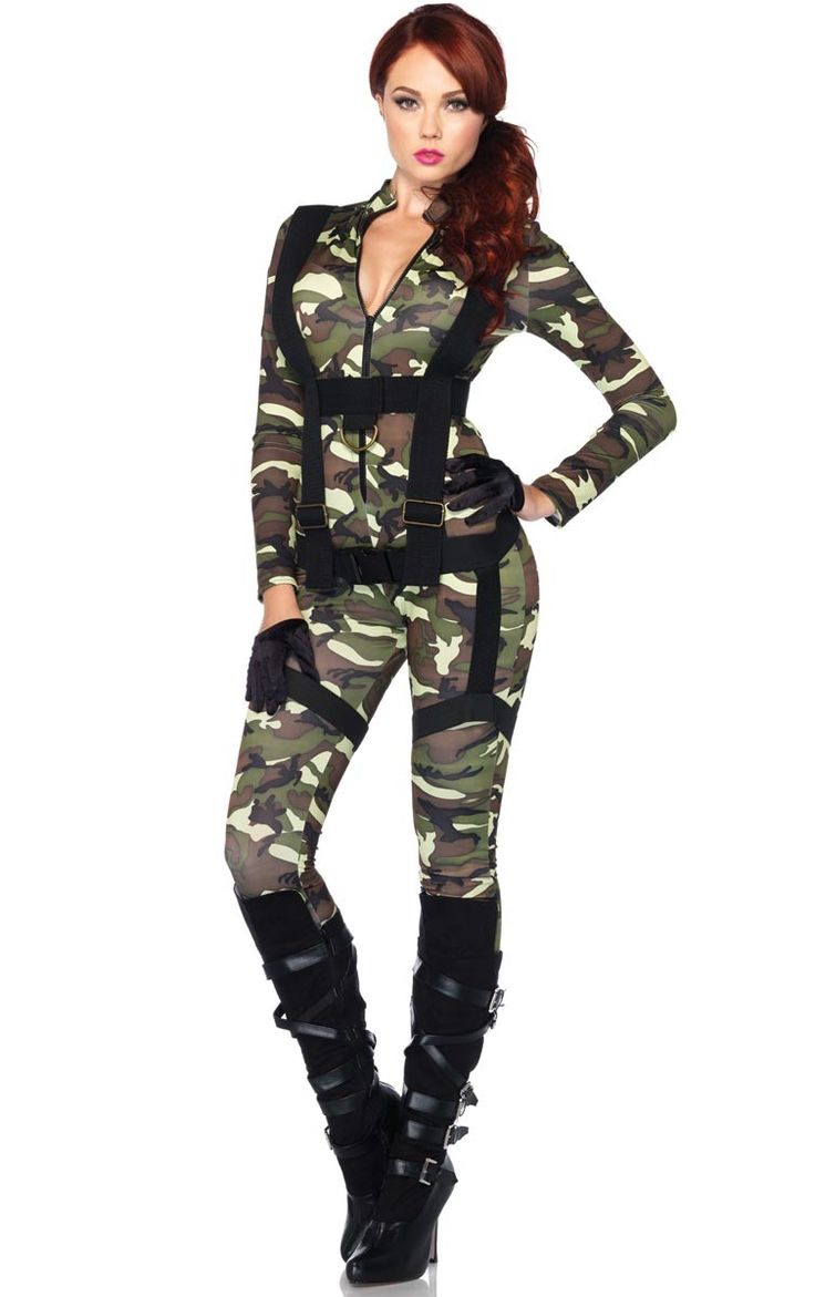 Be sexy and fierce in this pretty paratrooper costume by Leg Avenue. Grab the attention of your soldiers in this tight sexy jump suit. You will be the prettiest paratrooper at your next army or uniform fancy dress costume party.
