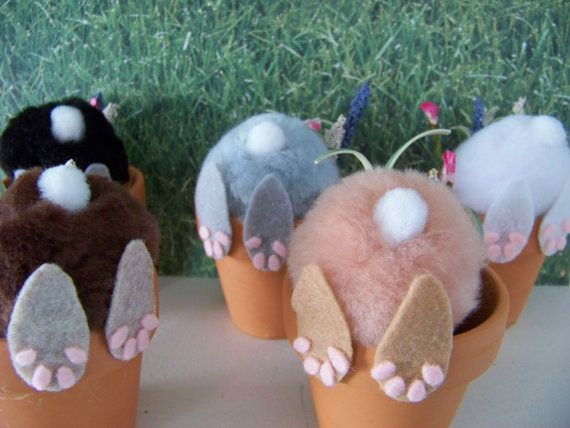 Curious Little Bunny Pots / Whimsical Easter Decoration / Bunny In Flower Pot...ADORABLE!!!!