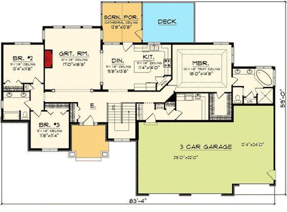Best 25 craftsman ranch ideas on pinterest - 4 bedroom 3 car garage house plans ...