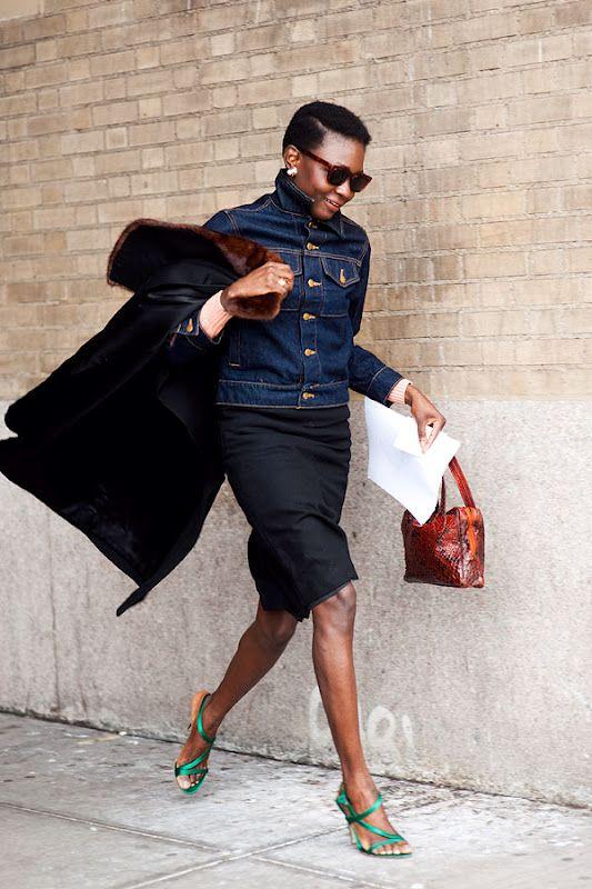 NYFW simple black skirt and denim jacket with green heels #VanessaJackman