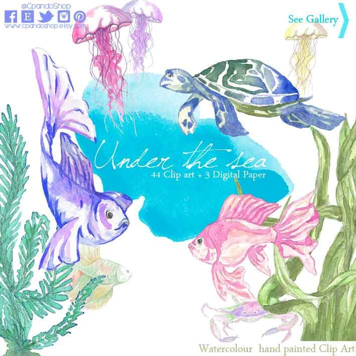 Watercolor Sea ClipArt Summer Nautical Elements Set Intant Download Digital jellyfish Turtles Coral Blue Mint Peach beach clipart sea png