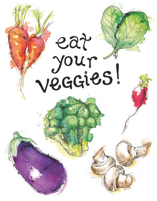 A series of small illustrations for a veggies poster, done in ink and watercolor.