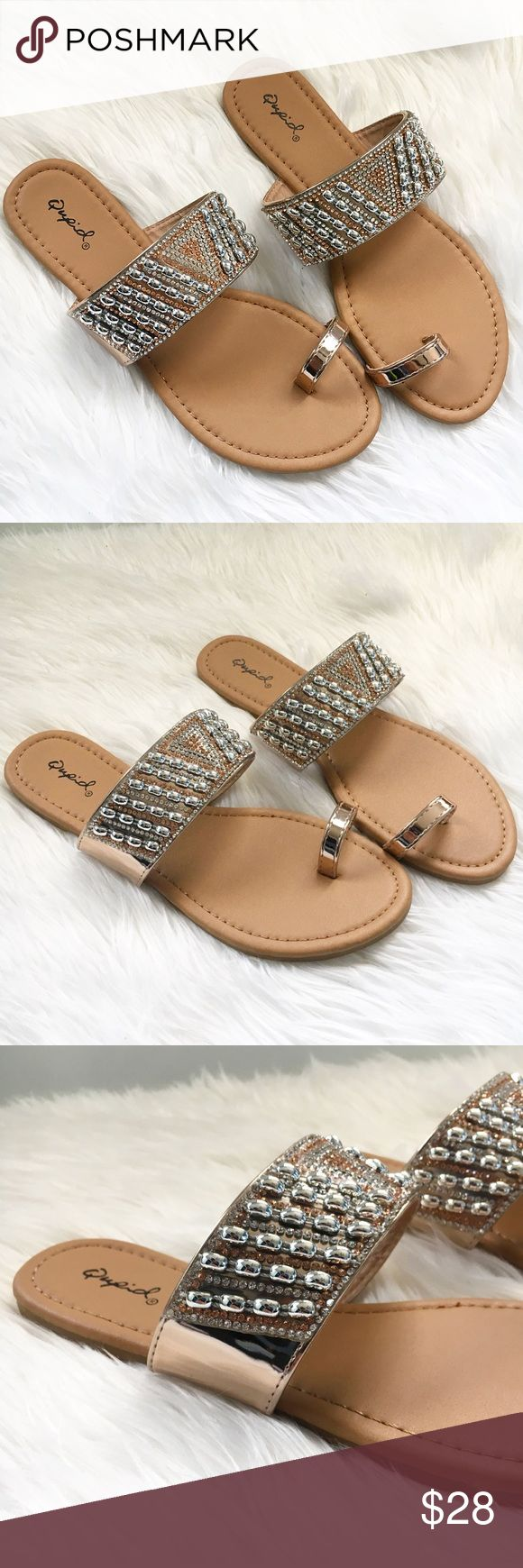 Gold toe rings for women - Rose Gold Toe Ring Sandals Beautiful Vacation Sandals Rose Gold Color With Rhinestones And Gem