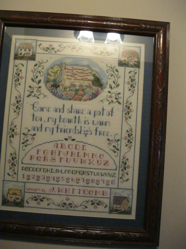 Sampler made by Jo-Ann Whitcomb after first trip to England.