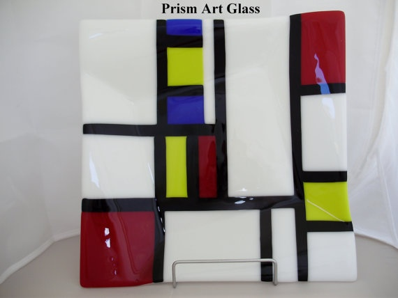 Mondrianesque Offset Fused Platter by prismartglass on Etsy, €80.00