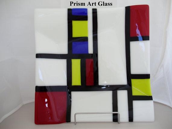 Mondrianesque Offset Fused Platter by prismartglass on Etsy, €80.00