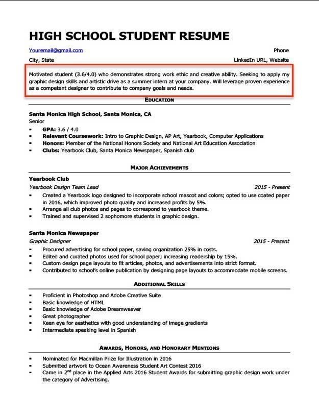 Resume For High School Student First Job Fresh Resume Objective Examples For Students And Pro Student Resume Resume Objective Examples Resume Summary Examples