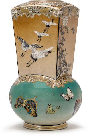 An unusual satsuma vase  By Taizan, Taisho era (early 20th century)