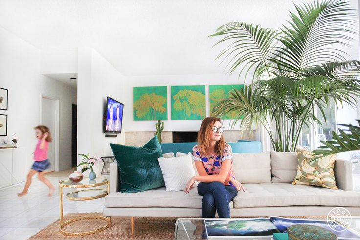 """Kelly Oxford's Palm Springs-Inspired Paradise - Hello Kelly! The pillows are from <a href=""""http://www.westelm.com/products/wrh-diagonal-frayed-pillow-cover-white-t1249/?pkey=e%7Cwhite%2Bpillow%7C17%7Cbest%7C0%7C1%7C24%7C%7C1"""