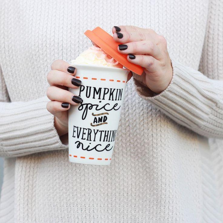 Fall Bucket List: Drink a Pumpkin Spice Latte | A Slice of Pie | PSL | Mug | Coffee | Winter coffee | Fall Coffee | Halloween | Pumpkin | Make your own coffee | Pumpkin Spice | Gifts for girlfriend | Holiday gifts | Mud Pie | Fall decor | Holiday decor