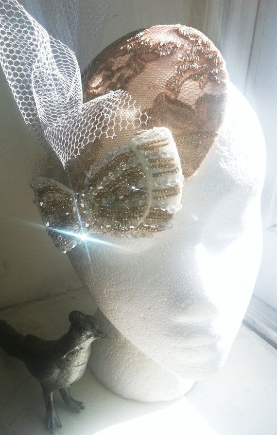 1920s Inspired Lace and Sequined Fascinator/ Mini Cocktail Hat.  perfect for a Holiday party or Wedding!!
