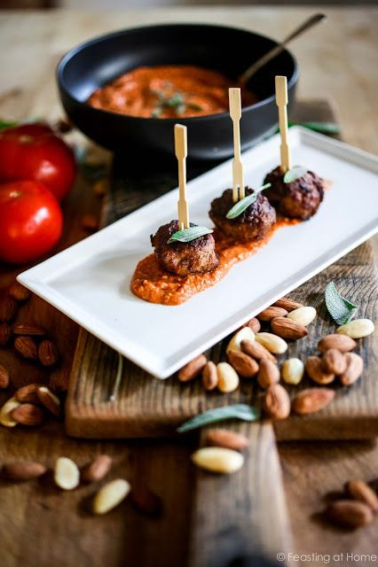 Baked Ricotta meatballs with Romesco Sauce