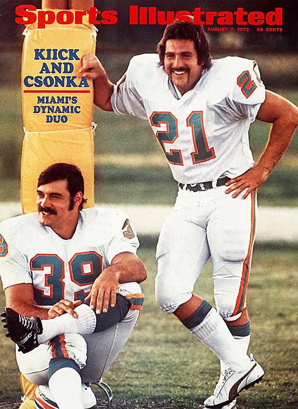 Jim Kiick and Larry Csonka (Butch and Sundance/The Dynamic Duo) on the cover of Sports Illustrated (August 7, 1972). Notice the Zonk flipping the bird?