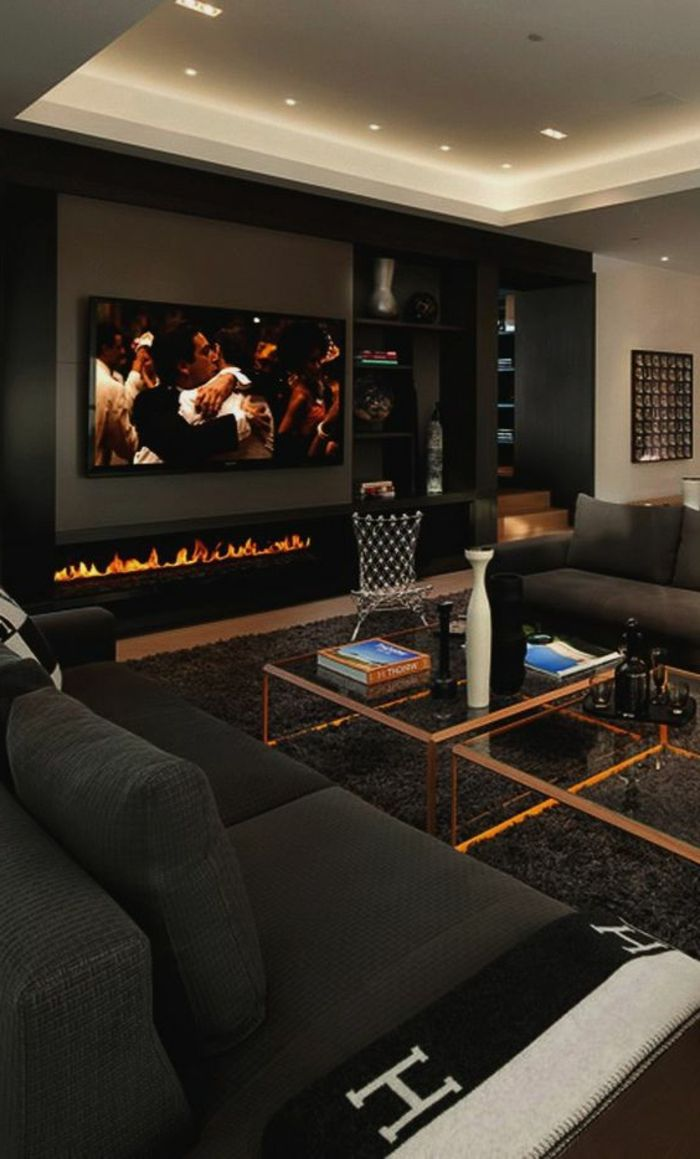 20 Living Room With Fireplace That Will Warm You All Winter  # Table Tv Avec Home Cinema