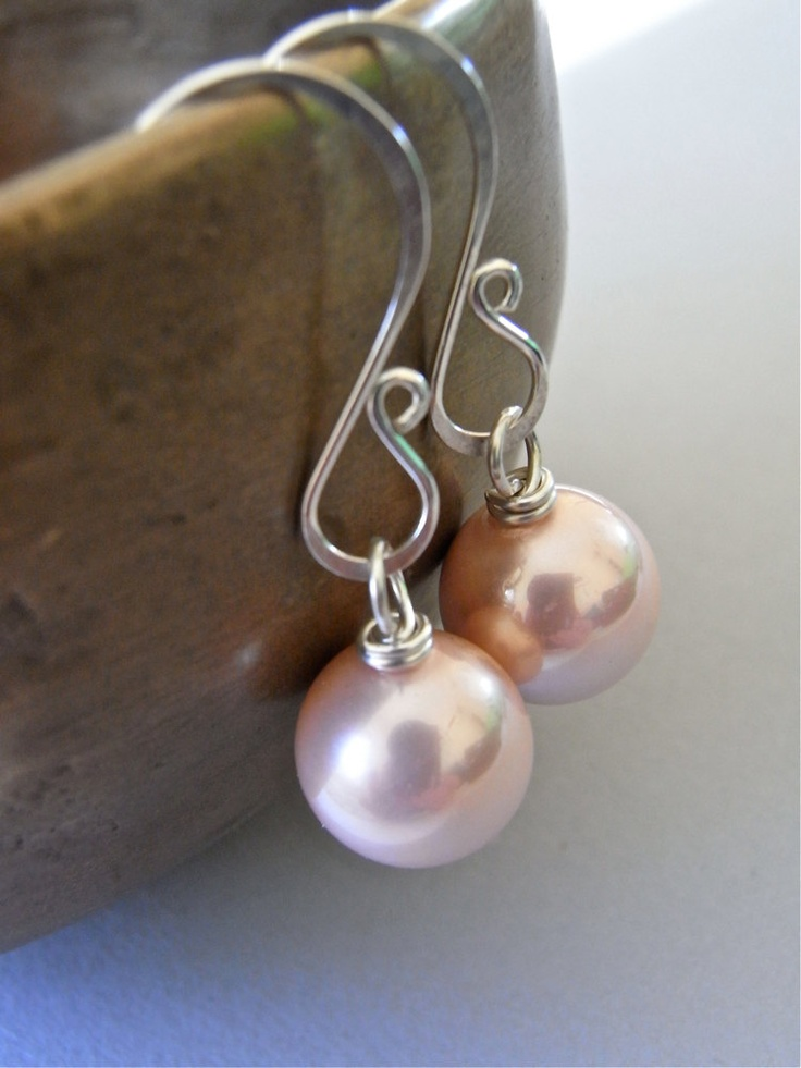 Earrings - sterling silver, south sea shell pearl, classic design - Petal. $26.00, via Etsy.