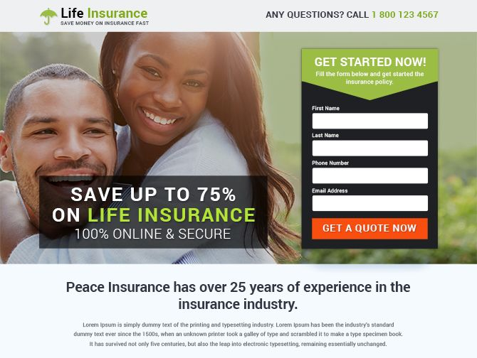 Best free life insurance landing page template for inspiration. don't miss it.. hurry.