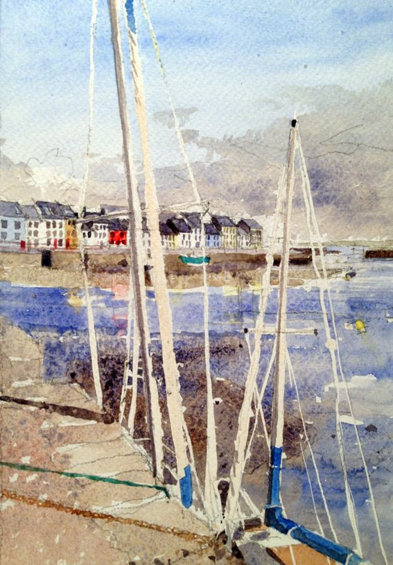 A watercolour painting looking across the River Corrib and the harbour in Galway
