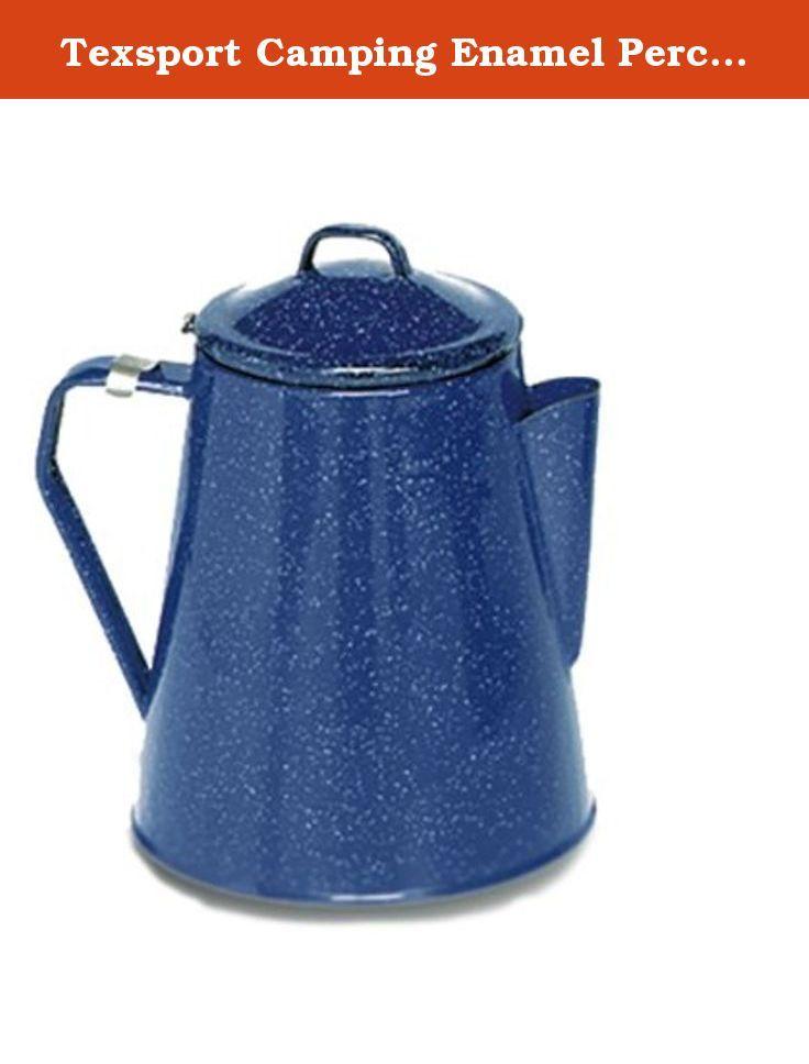 Texsport Camping Enamel Percolator Coffee Maker, Blue. Texsport Percolator, Enamel, 8 Cup 167944.
