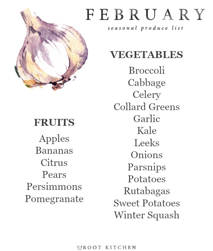February Seasonal Produce List | UprootKitchen.com