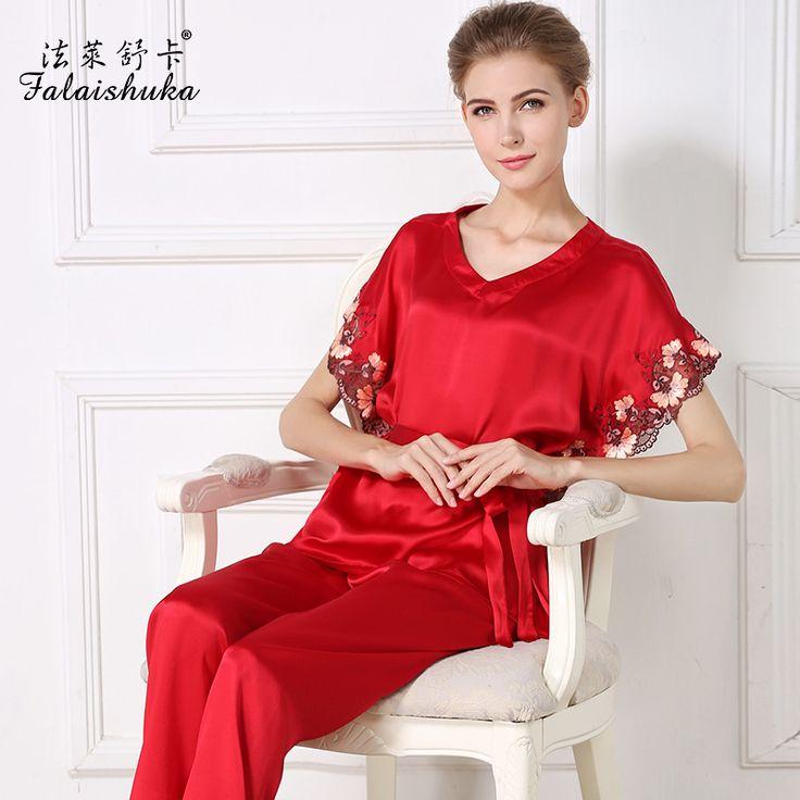 Plus la taille D'été Nouveau design à manches courtes  soie femmes pyjama définit couleur unie sexy rouge noble  él&eacute ...
