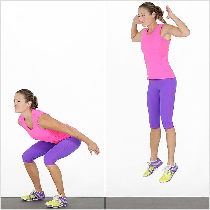 Short and effective, this jumping squat workout will tone and strengthen your butt and thighs — and you might not be able to walk down stairs tomorrow!